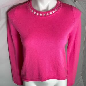 Milly pink high-low inset open weave sweater M